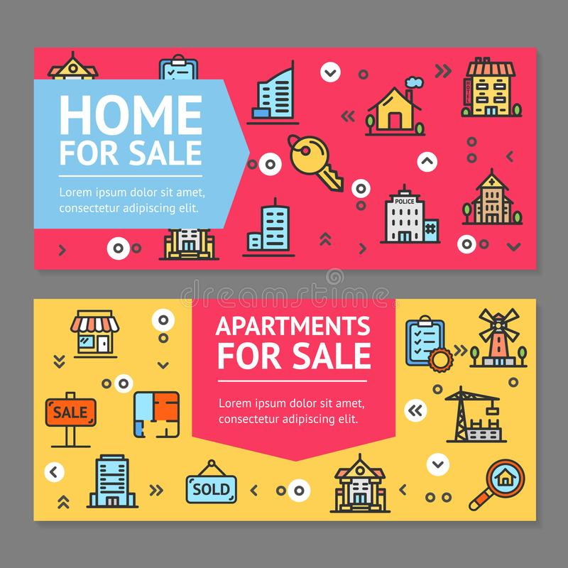 Building House or Home and Apartment for Sale Flyer Banner Posters Card Set. Vector royalty free illustration