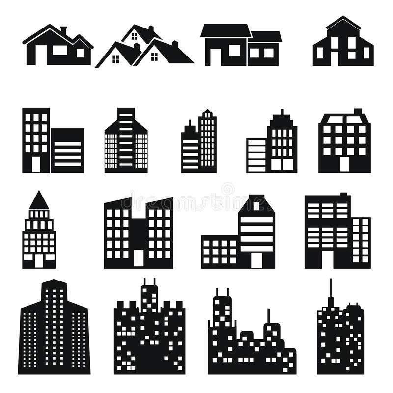 Building and house icons set. Building and house big icons set vector illustration