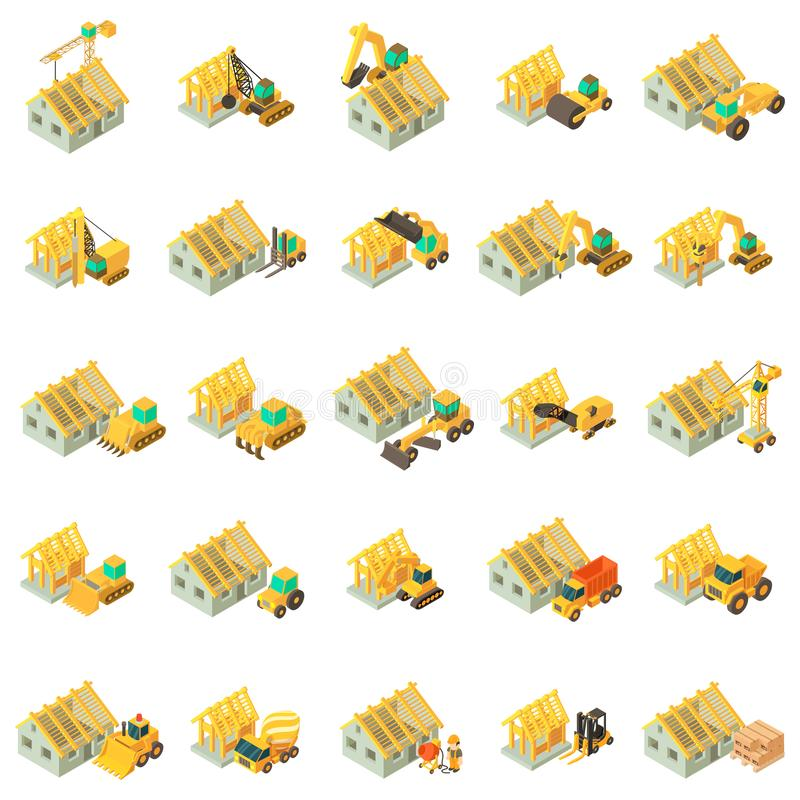Building house icons set, isometric style vector illustration