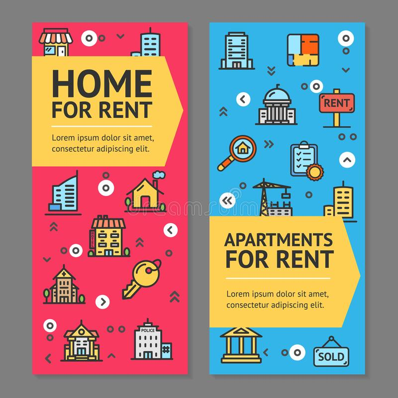 Free Building House Or Home And Apartment For Rent Flyer Banner Posters Card Set. Vector Royalty Free Stock Images - 101006299