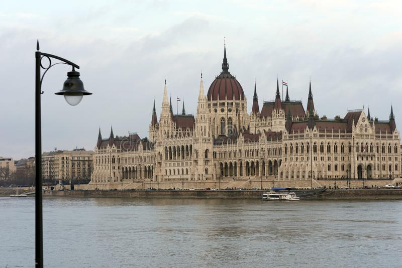 The building of the Hungarian Parliament on the banks of the Danube in Budapest is the main attraction of the Hungarian capital. stock image