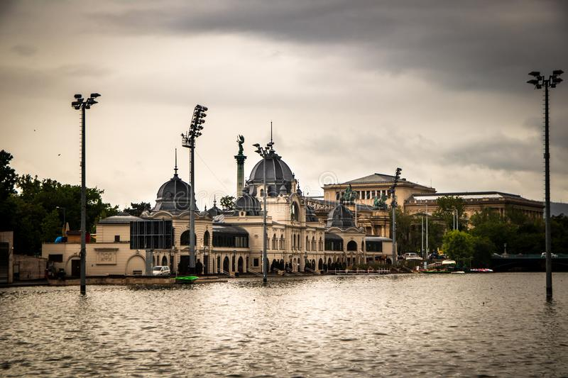 Building of ice skating rink by the lake. In a Budapest capital of Hungary stock photo