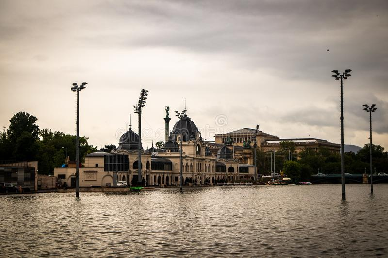 Building of ice skating rink by the lake. In a Budapest capital of Hungary stock image