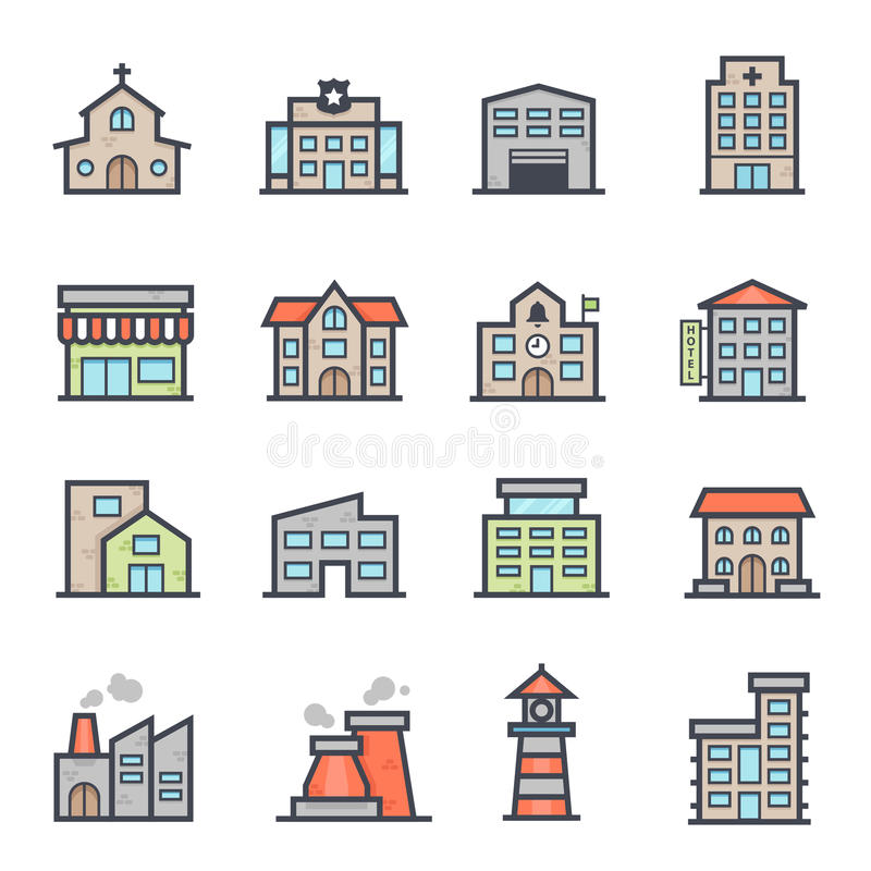 Building Icon Bold Stroke with Color. On White Background. Vector Illustration vector illustration
