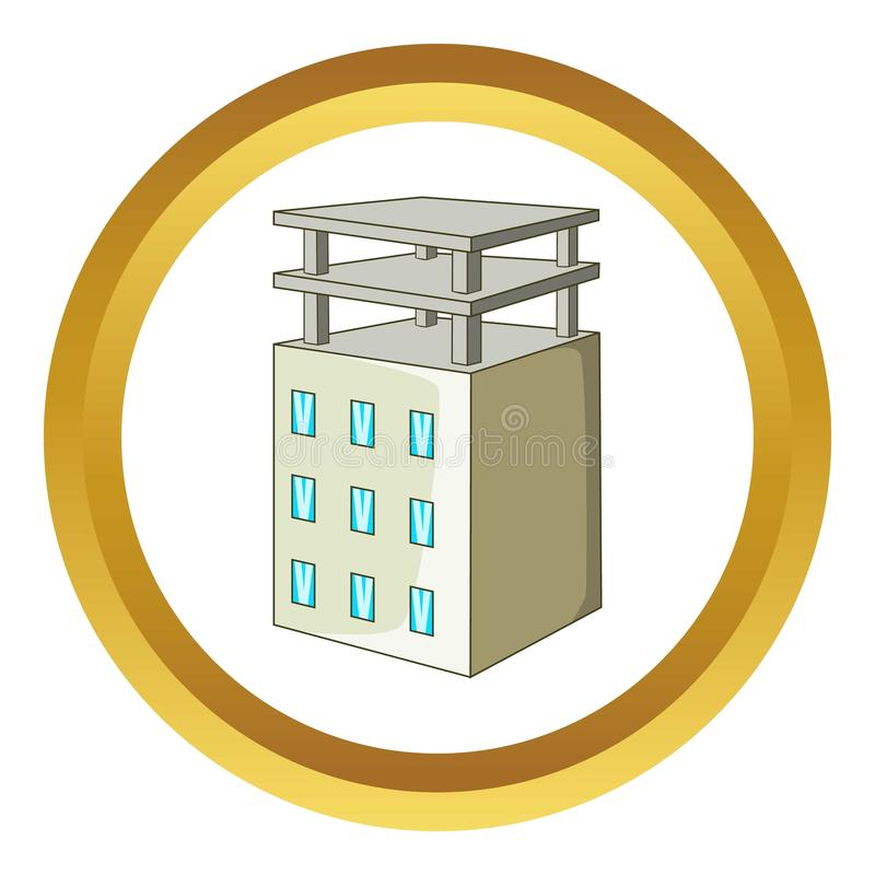 Building icon. In golden circle, cartoon style isolated on white background royalty free illustration