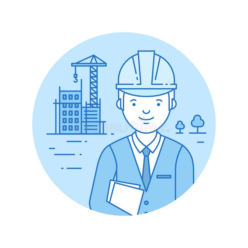Building icon in lineart style. Building icon on the blue circle background in lineart style stock illustration