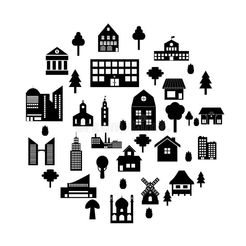 Building icon set stock illustration