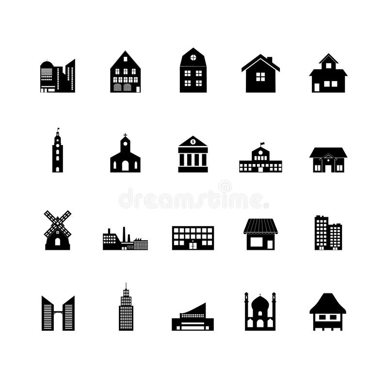Building icon set. Houses icons set royalty free illustration