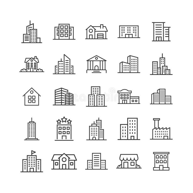 Free Building Icon Set In Flat Style. Town Skyscraper Apartment Vector Illustration On White Isolated Background. City Tower Business Stock Image - 169747261