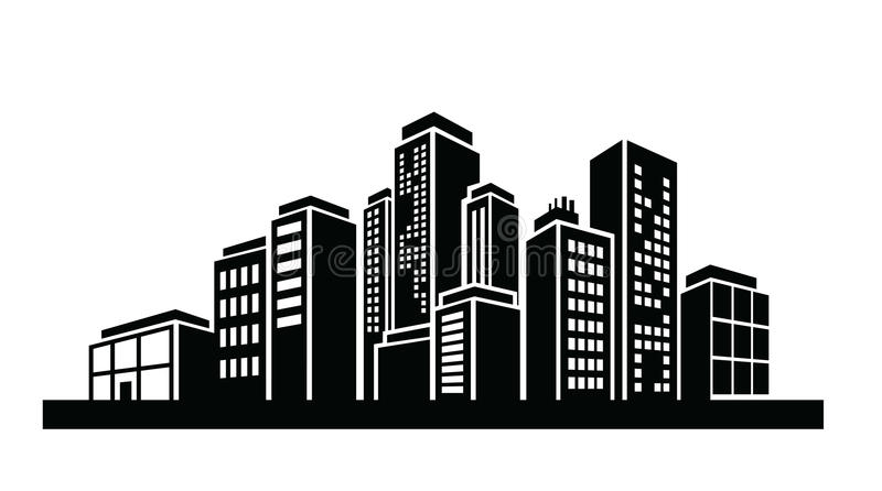 Building icon. Vector black illustration of Building icon on white vector illustration