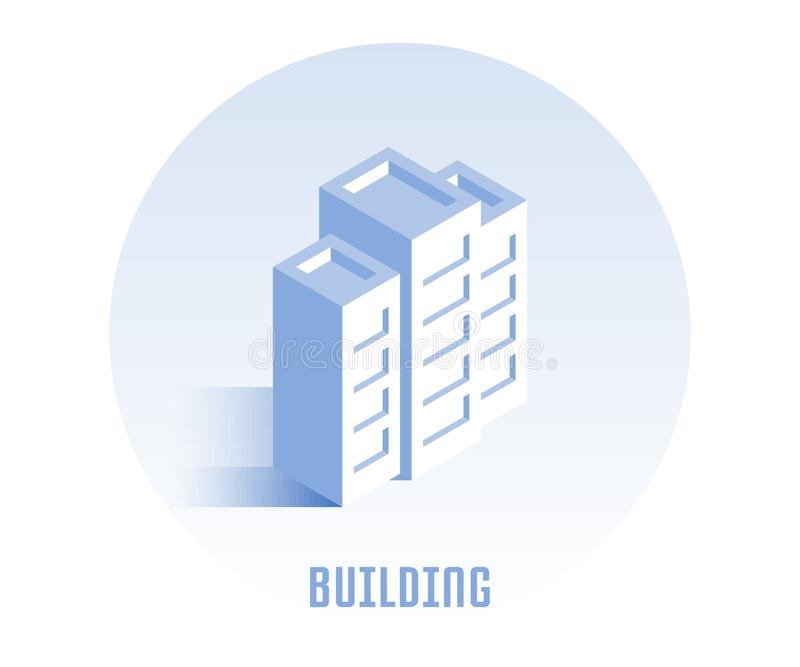 Building icon. Vector illustration in flat isometric 3D style royalty free illustration