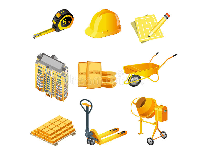 Building icons. Set of 9 construction and building icons vector illustration