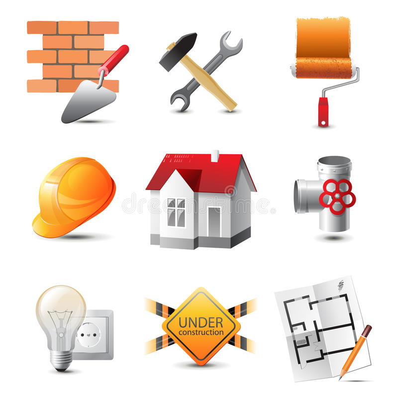 Building icons. Highly detailed building icons set royalty free illustration