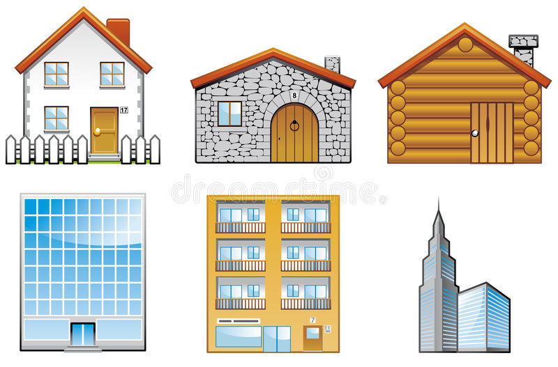 Download Building icons stock vector. Image of illustration, architecture - 7624820