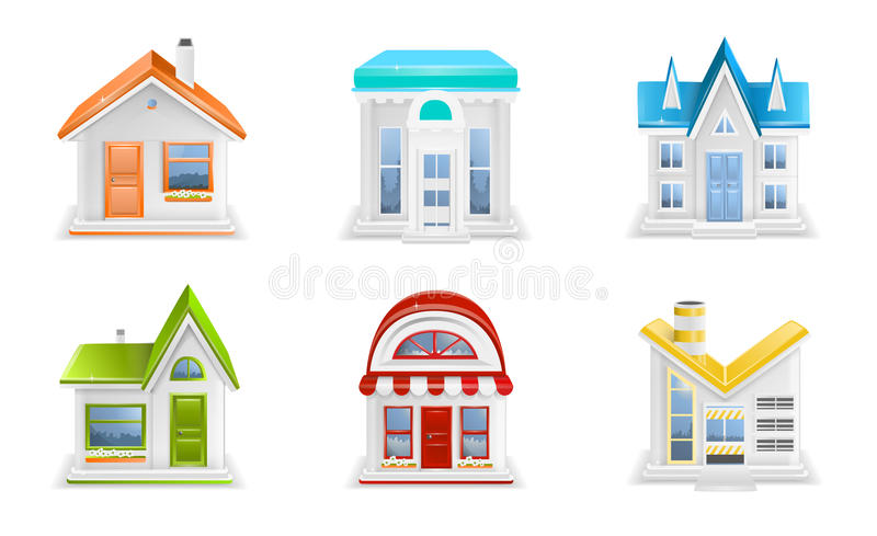 Building icons. Colorful building icons on white background stock illustration