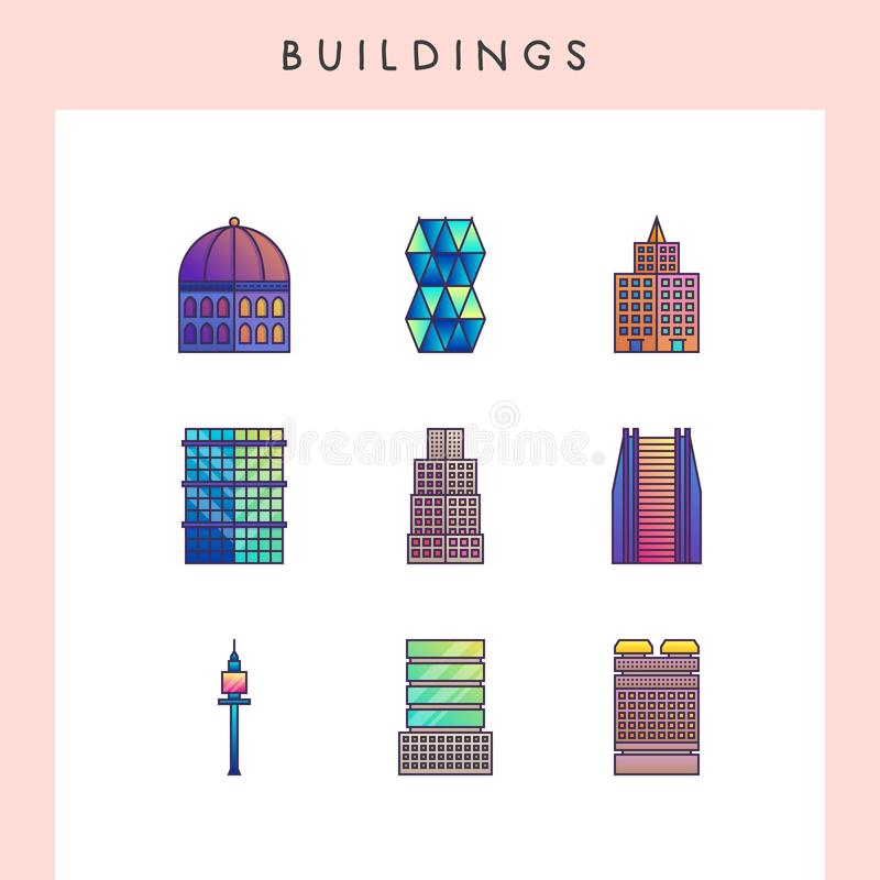 Building line icons. Building icons in futuristic gradient color style royalty free illustration