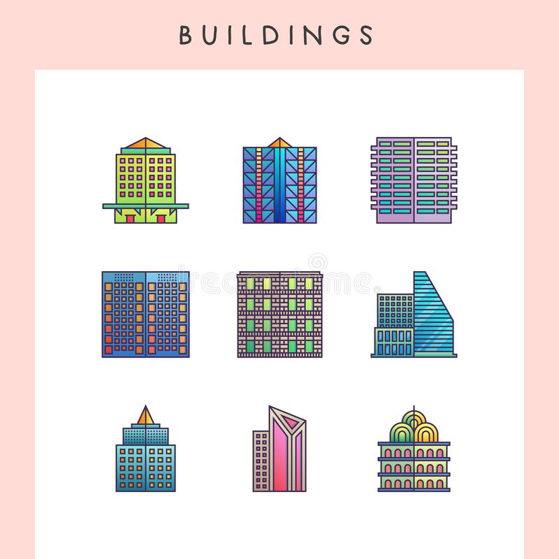 Building line icons. Building icons in futuristic gradient color style stock illustration