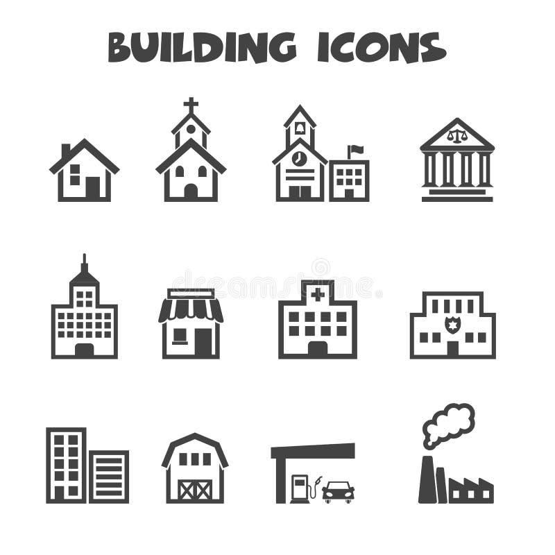Building icons. Mono vector symbols stock illustration
