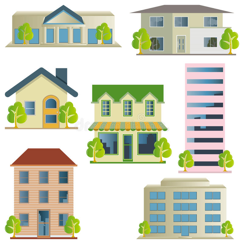 Building Icons Set Royalty Free Stock Image