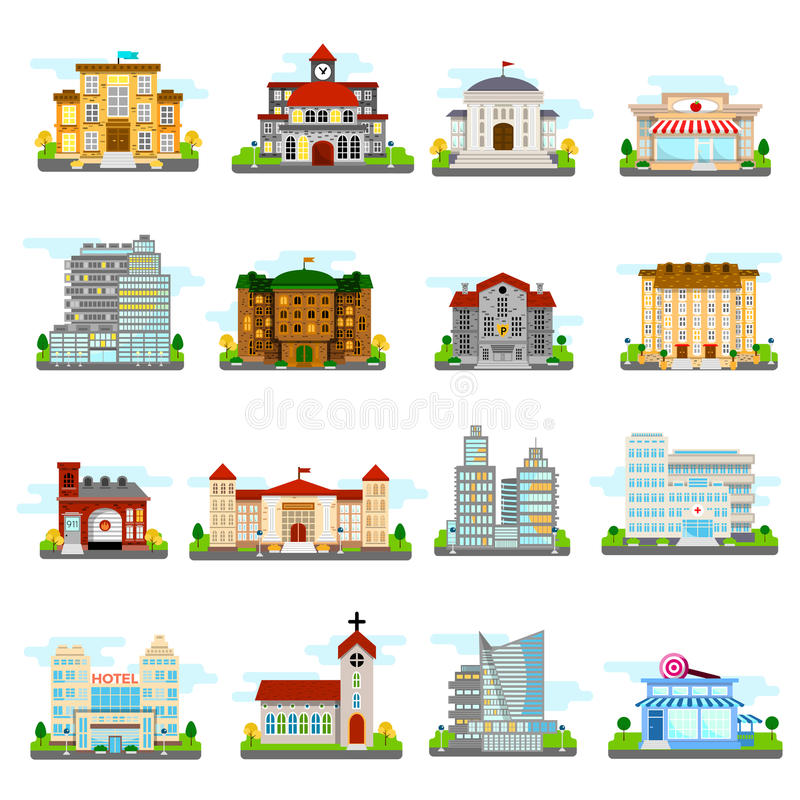 Building Icons Set. City different buildings municipal and private isolated and colored vector illustration royalty free illustration
