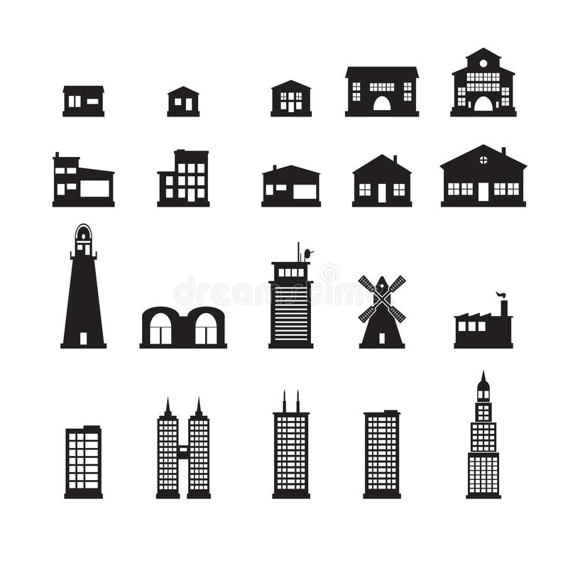 Building icons set. Set of building icons eps10 royalty free illustration