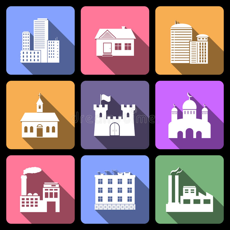 Building icons set. Building flat icons with long shadow stock illustration