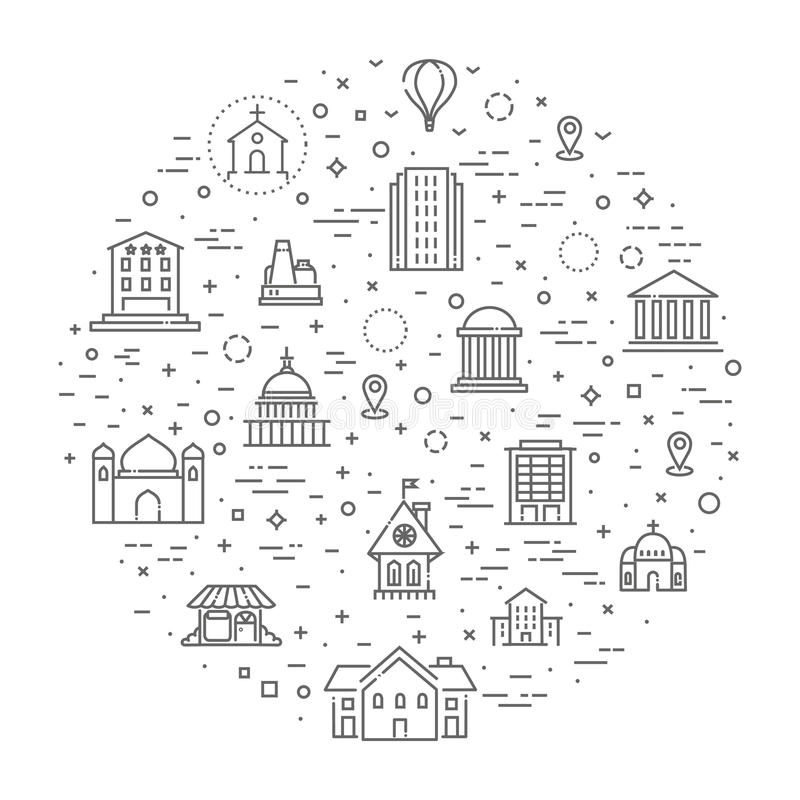 Building Icons set, Government. Building Icons Government building icons set of museum, library, theater isolated vector illustration set, government stock illustration