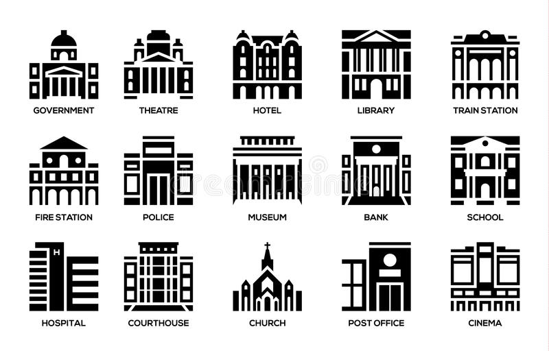 Building icons set stock illustration