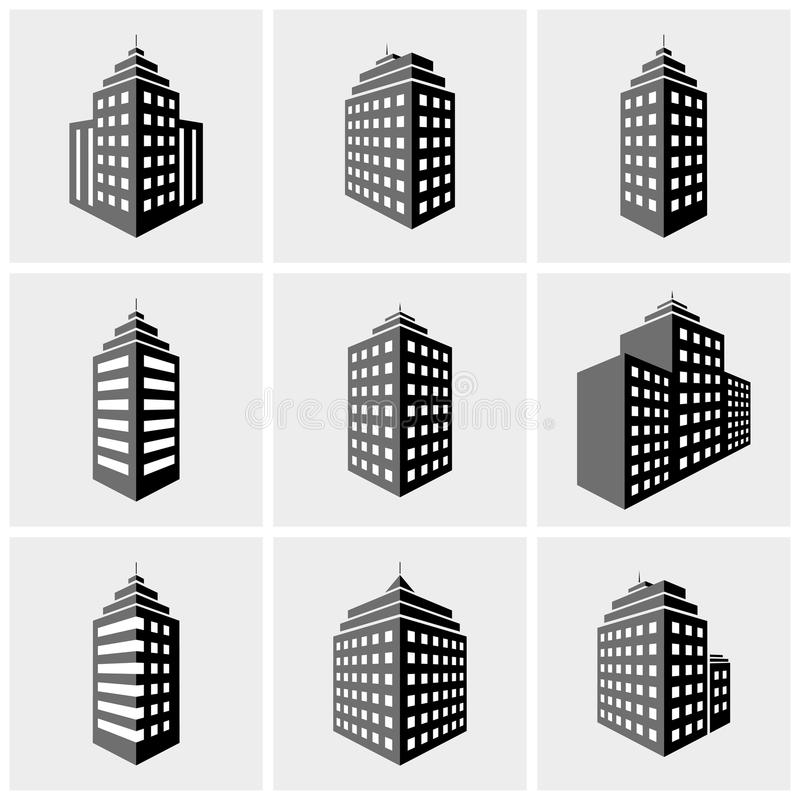 Building icons. Set of building icons in perspective view. vector illustration royalty free illustration