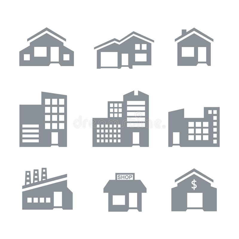 Download Building icons stock vector. Image of urban, house, home - 34480067