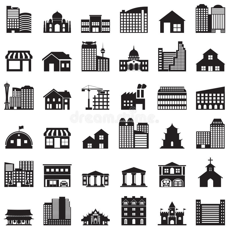 Building icons set. Building ,icons, set,urban, sign, property