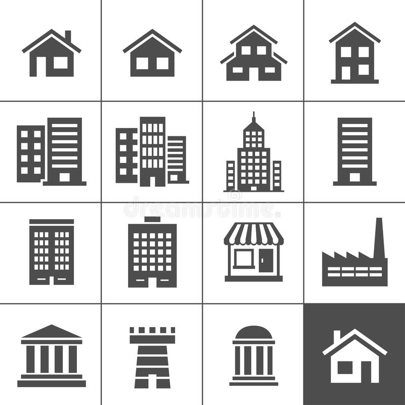 Download Buildings Icons stock vector. Image of suburb, shape - 30054420