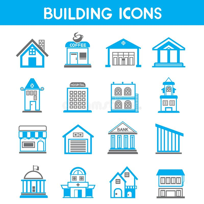 Building icons. Set of 16 building icons in white background royalty free illustration
