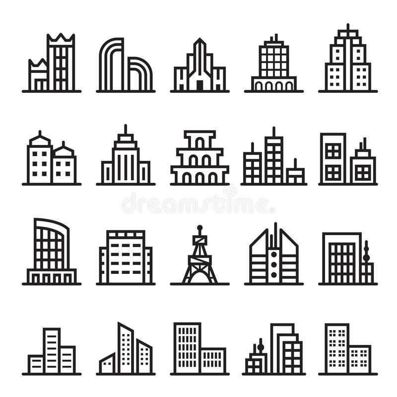 Building icons. Vector illustration Graphic Design symbol stock illustration