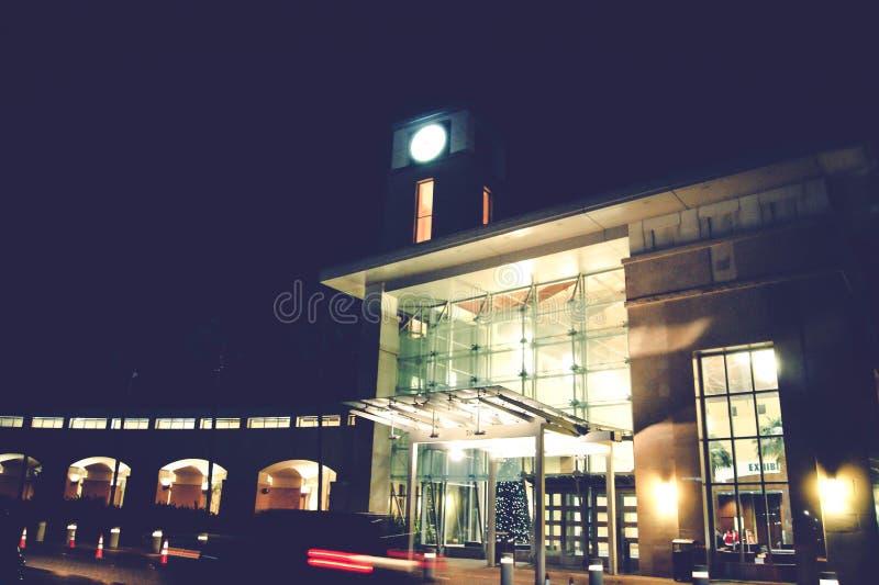Building illuminated at night royalty free stock photography