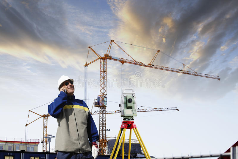 Building industry and suveying engineer stock image