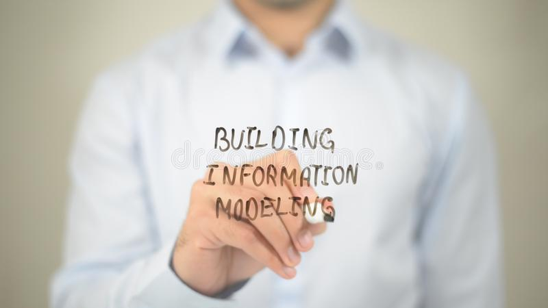 Building Information Marketing, writing on transparent screen stock image