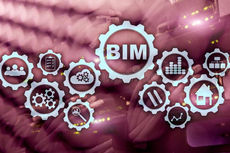 Building Information Modeling. BIM on the virtual screen with a server data center background stock images