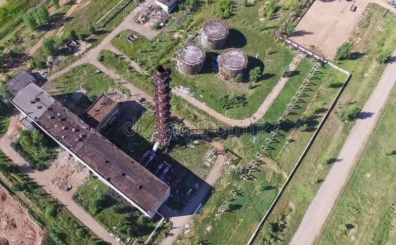 building and infrastructure of an old abandoned thermal power plant. view from above stock image