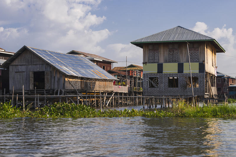 Building on the Inle lake. Exotic Floating village at Inle Lake, Myanmar royalty free stock image
