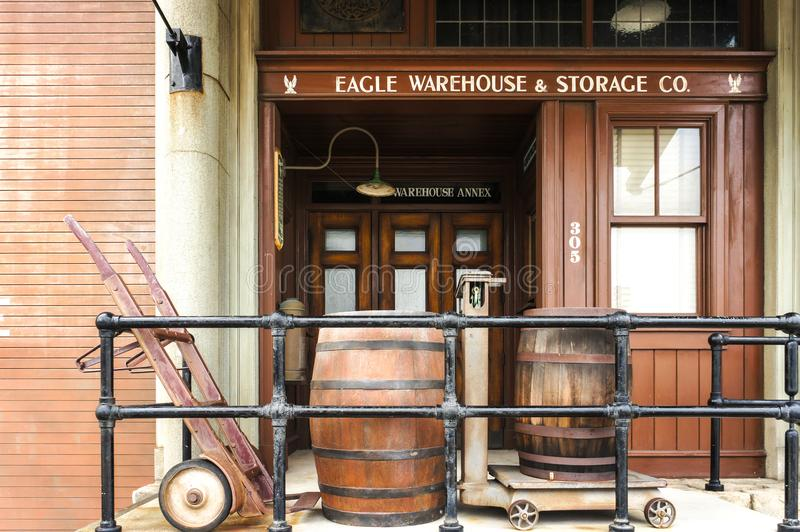 Building inside Universal Studio, replica of the Wild West cowboy style. OSAKA, Japan - June 2, 2015 : A Photo of a Wild West Cowboy style building called Eagle royalty free stock image