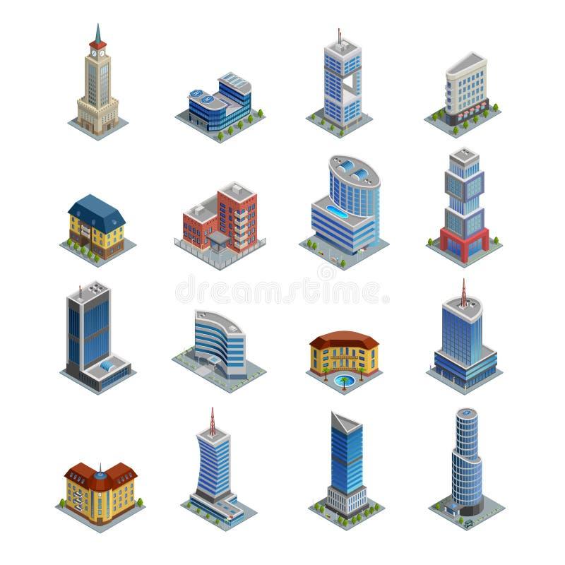 Building Isometric Icons Set stock illustration