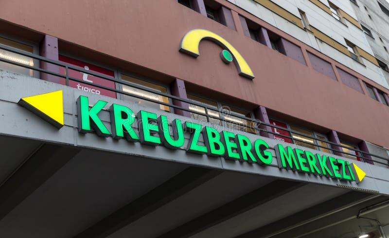 Building in Kottbusser Tor, Berlin, Germany. BERLIN, GERMANY - DECEMBER 16, 2017: Building with Kreuzberg Merkezi (Center) signboard in Kottbusser Tor stock images
