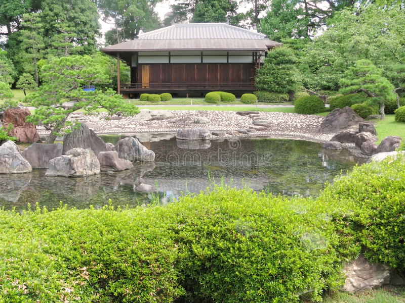 A building in Kyoto Nijo castle gardens royalty free stock photography