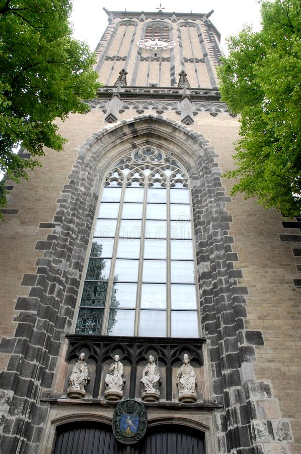 Building with large glass window in Cologne in Germany stock photo