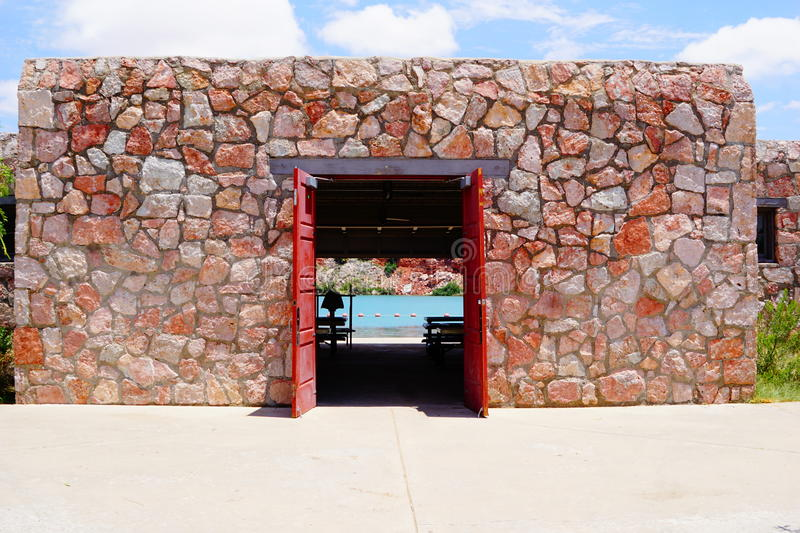 A building at Lea Lake New Mexico. A front entry building walkway at Lea Lake in New Mexico royalty free stock photography