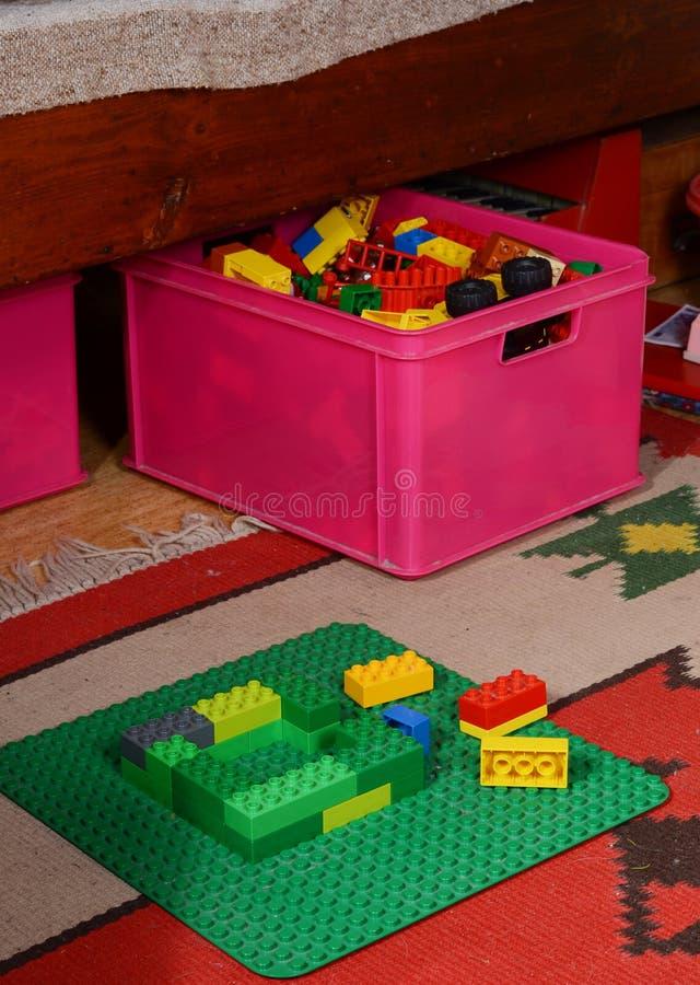 Building lego blocks stock photo