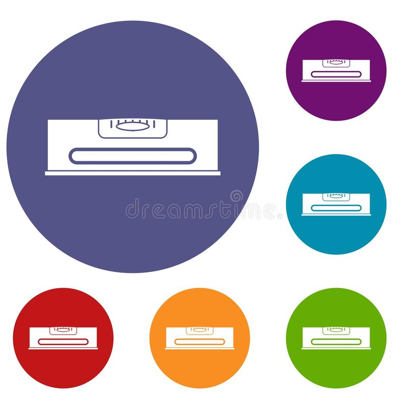 Building level icons set. In flat circle red, blue and green color for web stock illustration