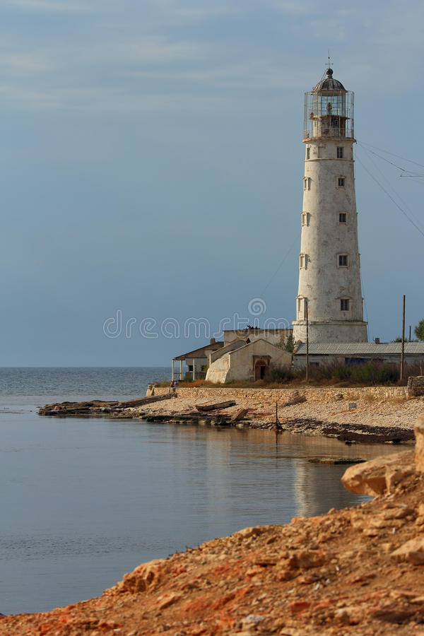 Building a lighthouse at Cape Tarhankut. stock images