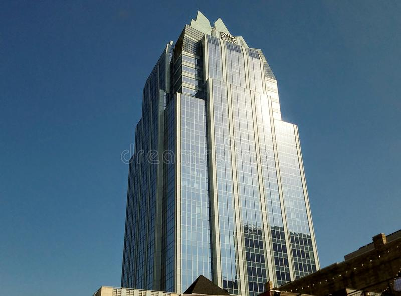 Building Located in Downton Austin. This picture shows a building located in downtown Austin. Located at the heart of the city, it is one of Austin`s signature royalty free stock image